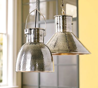 pottery barn lights silver
